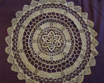 5 Vintage Hand Crocheted & Embroidered White Doilies -  #2