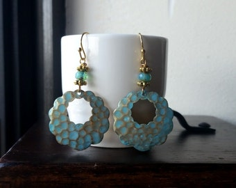 SCHIMERA - Patina Brass Scalloped Hoop Earrings - You Pick The Color-Aqua Lavender or Peach