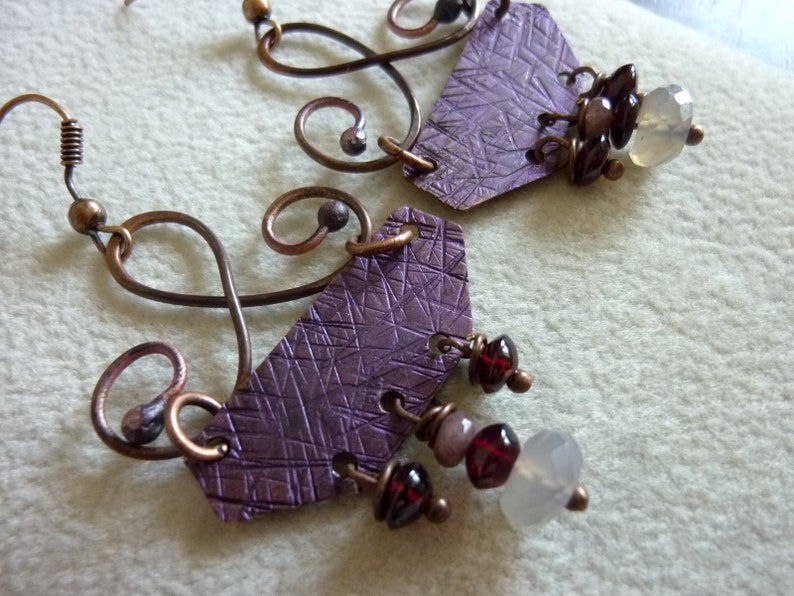 Antique Copper with Dark Purple Patina Mozambique Garnet Chocolate Quartz and Gray Chalcedony Earrings