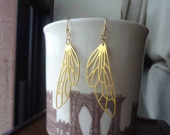 Raw Brass Wing Earrings, Modern, Boho Chic, Bohemian