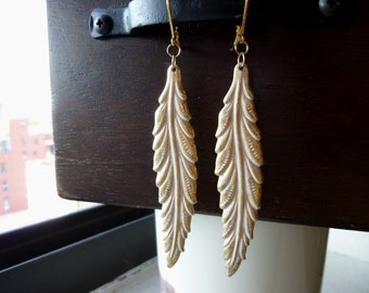 Frosted White Patina Long Leaf Earrings
