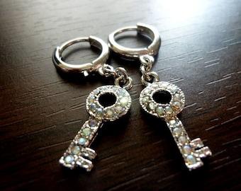 40% OFF SALE! - Aurora Borealis Swarovski Petite Key Charms Tarnish Resistant Earrings