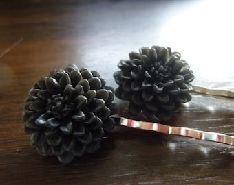 40% OFF SALE! Black Chrysanthemum Mum Flower Resin Silver Bobby Pins