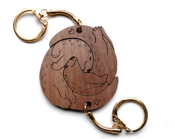 PREORDER Cute Interlocking Significant Otter Keychains - Friendship or  Relationship matching wooden keychain set 98038947bc