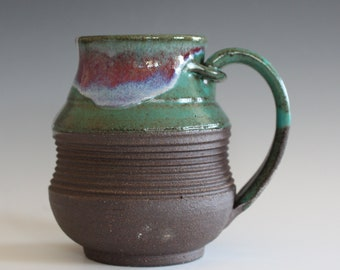 Pottery Coffee Mug, 17 oz, ceramic cup, hand thrown mug, stoneware mug, pottery mug, unique coffee mug, ceramics and pottery