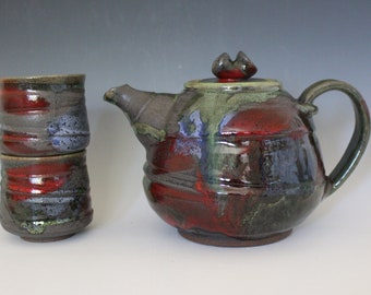 Pottery Teapot with 2 Cups, Handmade Tea Set, Handmade Stoneware Teapot, Handmade Teapot, pottery teapot, wheel thrown teapot