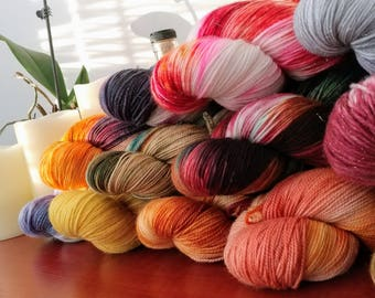Hand Dyed Mystery Fingering Weight Sock Yarn Grab Bag