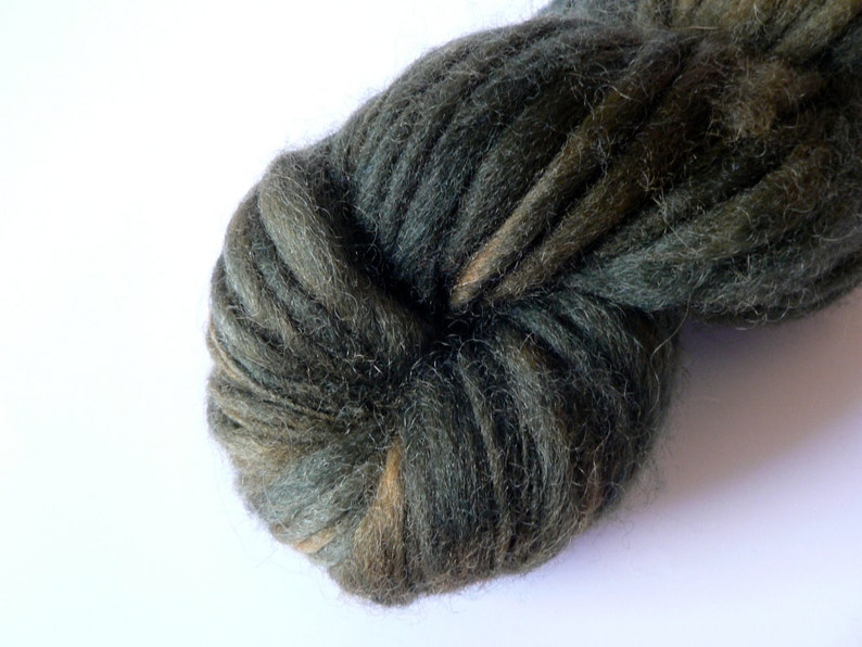 SALE Handspun Domestic Wool Thick n/' Thin Yarn Hand Dyed Deep Olive 105 yards Super Bulky