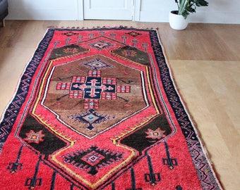 "vintage Turkish area rug, large rustic geometric rug, happy bohemian bold colors rug 12'0"" x 5'6"""