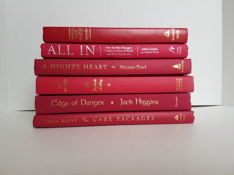 Set Of 6 Red Books Home Or Wedding Decor Instant Library Book Display Photo Prop