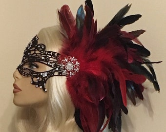 f9870b8b48b9 Red Black Lace Masquerade Mask with Feathers Crystals, Women's Mask, Masked  Ball, Masquerade Masks, Bridal Wedding Mask, Halloween Costume