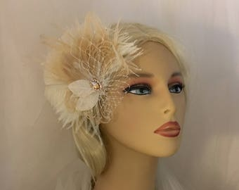 Fascinator, Wedding Head Piece, Bridal Hair Clip, Bridal Headpiece, Great Gatsby Headpiece, Wedding Hair Clip, Silver or Rose-gold