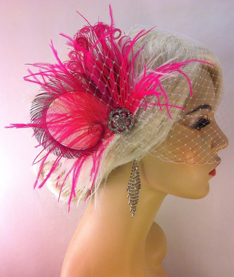 Hot Pink and White Bridal Headpiece Feather Fascinator Great Gatsby Wedding Fascinator Peacock Feather Hair Clip
