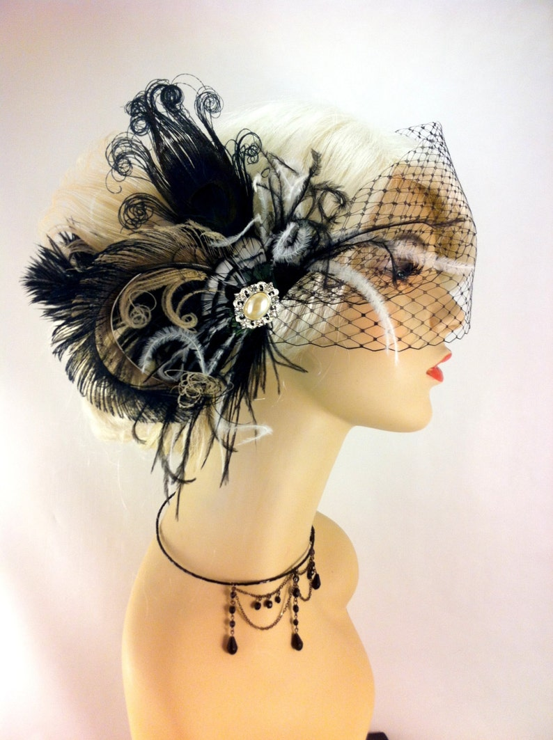 Bridal Fascinator Feather Wedding Head Piece Bridal Hair Accessories Feather Fascinator Gatsby Wedding Bridal Veil Set Great Gatsby