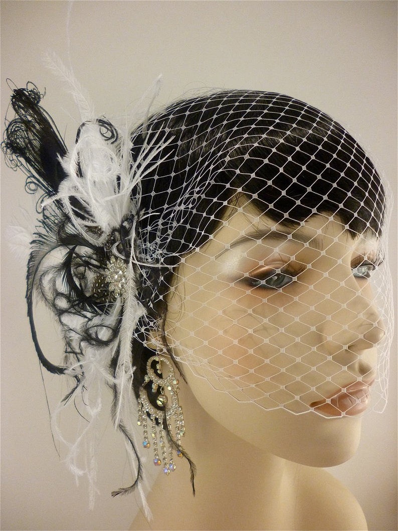 Bridal Fascinator Bridal Headpiece Bridal Feather Fascinator Wedding Veil Black and White Bridal Veil Rock On Fascinator