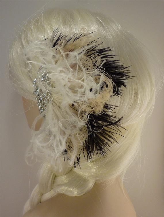 Hollywood Glitz  2-  Bridal Fascinator Feather Fascinator Bridal Veil Ivory and Black Wedding Veil Rhinestone Hair clip