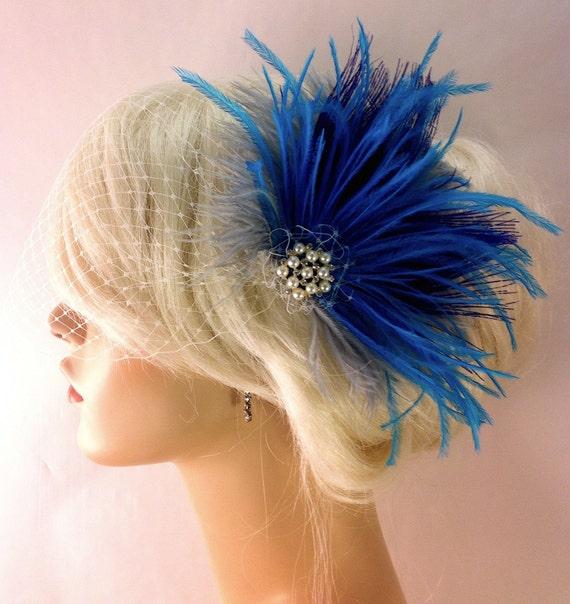 Piuma di pavone Clip di capelli Fascinator nuziale  8e7461a27f30