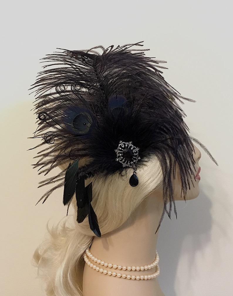 Flapper Headpiece Great Gatsby Headband Flapper Girl Headband Black 1920s Flapper 1920s Headpiece 1920s Headband