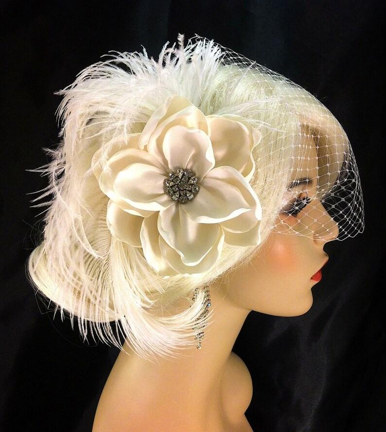 Bridal Fascinator Bridal Flower Hair clip Veil Flower 20s Headpiece Bridal Flower Feather Fascinator Roaring 20s Gatsby Headpiece