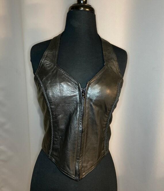 Vintage Leather Halter Top Vest Dominatrix Biker … - image 8