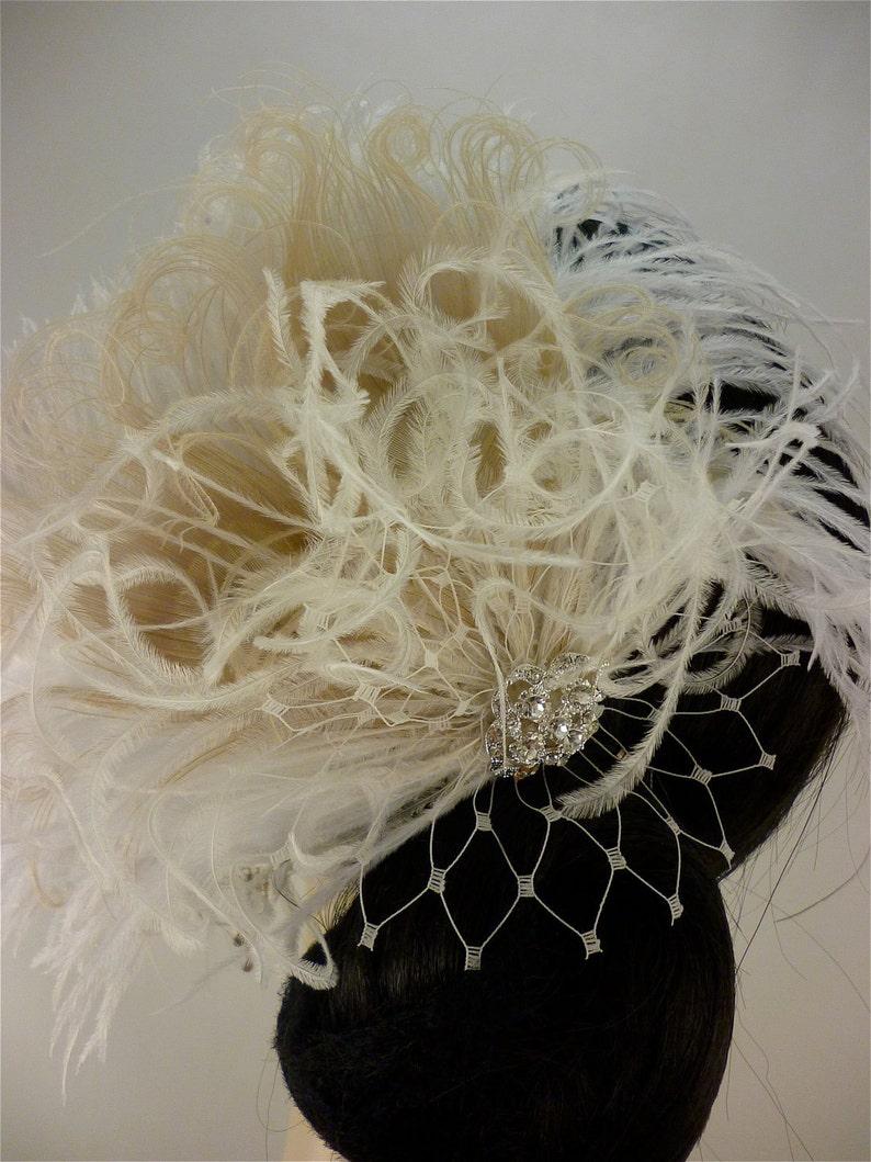 Wedding Bridal Fascinator Vintage Bride Diamante Crystal Rhinestone Brooch Feather Fascinator English Net Veil Bridal Fascinator