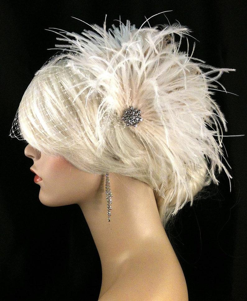 Great Gatsby Gatsby Wedding Bridal Veil Set Bridal Hair Clip Bridal Hair Accessories Feather Fascinator Feather Wedding Head Piece
