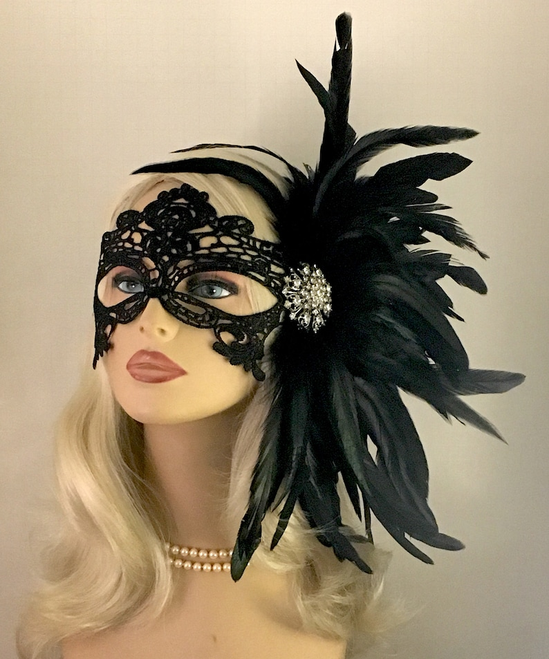 b5240d84e081 Black Lace Masquerade Mask with Feathers Masked Ball | Etsy