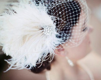 Wedding Head Piece, Bridal Feather Fascinator, Bridal Fascinator, Bridal Headpiece, Bridal Hair Accessories, Bridal Veil