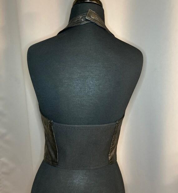 Vintage Leather Halter Top Vest Dominatrix Biker … - image 9