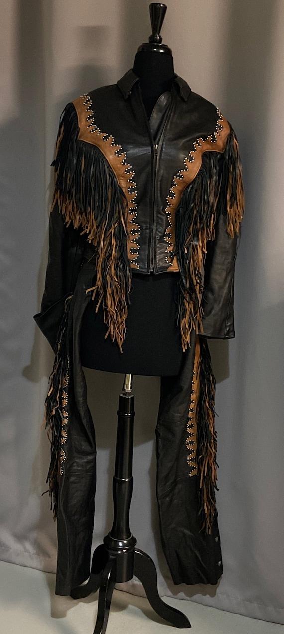 Vintage Boho Leather Biker Jacket Fringed with Mat