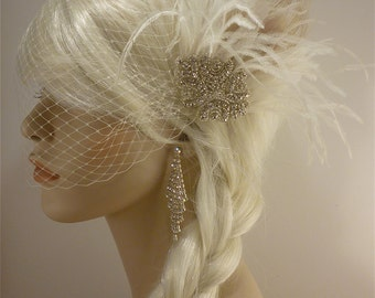 1920s Bridal Headpiece, Wedding Fascinator, Feather Fascinator , Wedding Veil, Bridal Headpiece, Gatsby Headpiece, Hollywood Bride