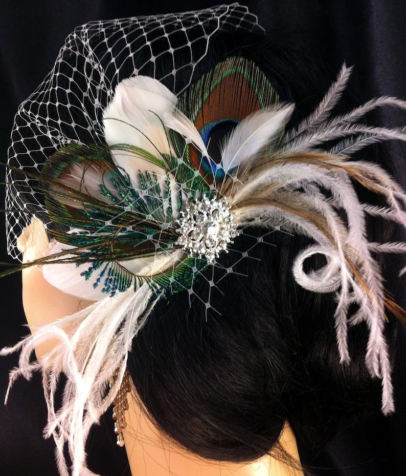 Wedding Hairpiece Peacock Feather Fascinator Bridal Headpiece Bridal Veil Royal Blue Peacock Hair Clip Wedding Hair Accessories