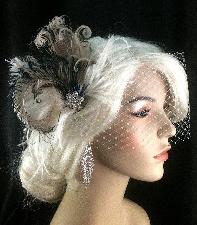 Wedding Headpiece Gatsby Wedding Great Gatsby Headpiece Feather Fascinator Bridal Fascinator Bridal Hair Accessories Peacock Hair Clip