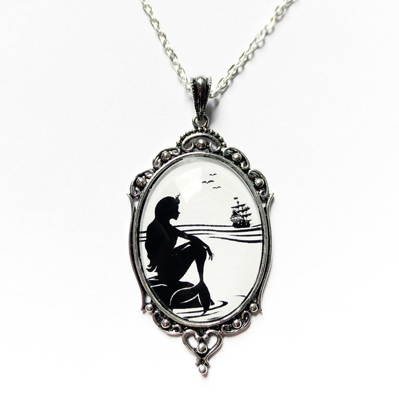Part of Your World -Silhouette Necklace Large Wearable Art Cameo Necklace Pendants mermaid necklace-Christmas gift