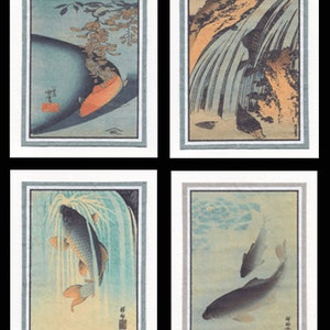 4 Blank Note Cards Of Botanicals by Hokusai gcf002