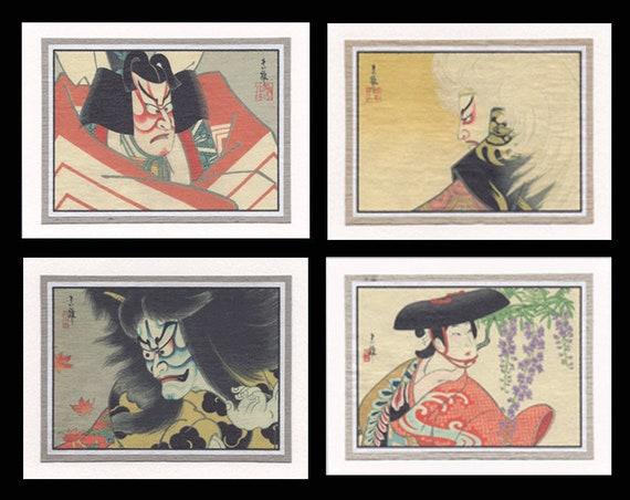 4 Note Cards  Kabuki by Tadamasa GCKS002