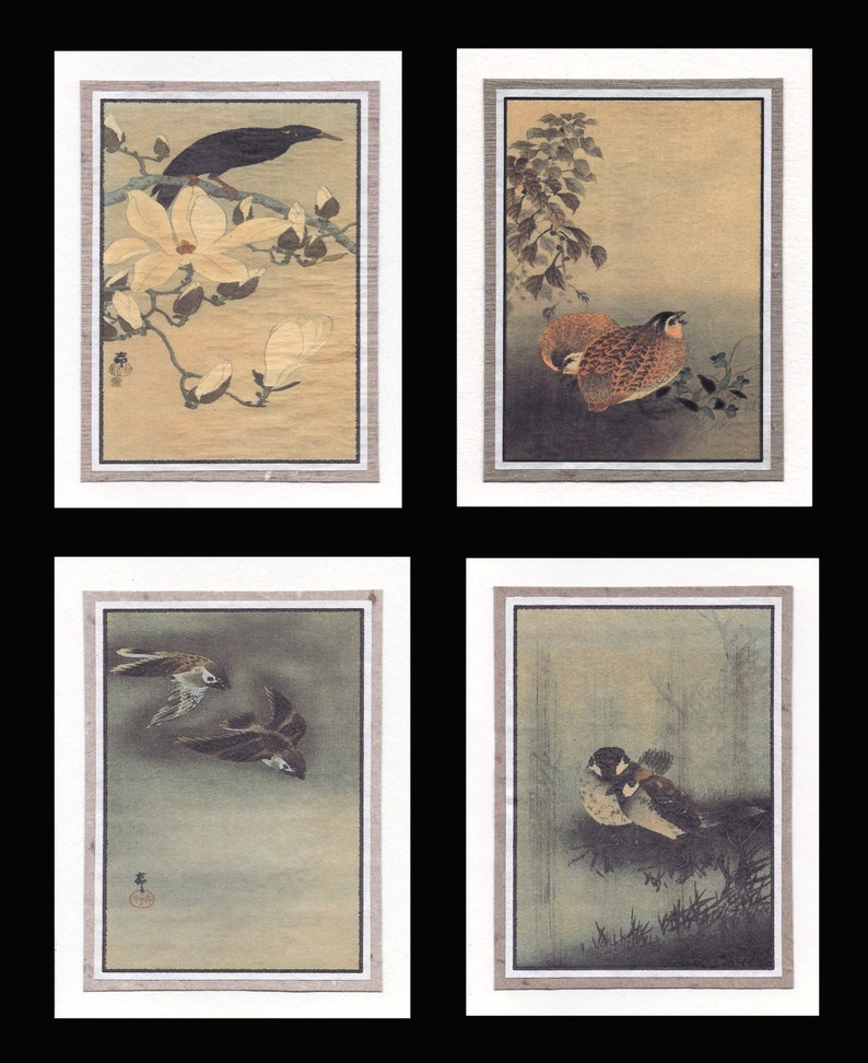 4 Blank Note Cards of Small Birds by Koson gcbs009