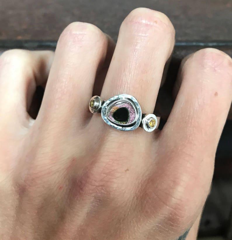 Watermelon Tourmaline Slice /& OrangeYellow Sapphire Ring Size 8 Tourmaline Ring