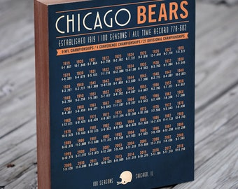9572203f3f814c Chicago Bears 100 Seasons - Chicago Bears Wall Art - Chicago Bears Gift - Chicago  Bears Wood Sign