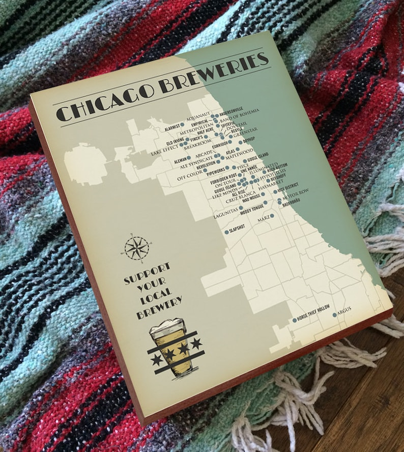 Chicago Brewery Map Chicago Breweries Chicago Beer Map | Etsy on