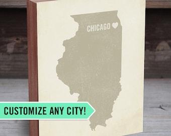 City Map Art - City Name Signs - Customized City Map - State Art with Heart - State Signs - Map Heart Location - City Wall Decor