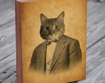 Cat in a Suit Wood Block Art Print