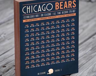 Chicago Bears 100 Seasons - Chicago Bears Wall Art - Chicago Bears Gift - Chicago Bears Wood Sign