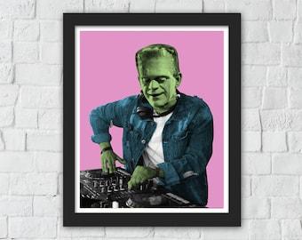 Frankenstein Spinning Those Funky Beats -  DJ Gifts for Men - DJ Table - DJ Art - Electronic Music Poster - Edm