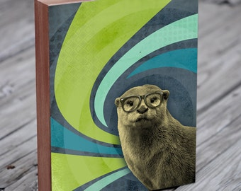 Sea Otter Art - Otter in Glasses - The Inquisitive River Otter - Otter Art Print - Wood Block Art Print