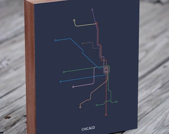 Chicago Transit Map - Chicago Train Map - Chicago El - Wood Block Art Print
