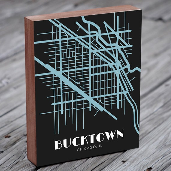 Bucktown Chicago Map Art Etsy