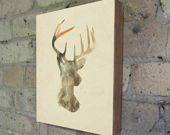Deer Art - Antler Art - Deer Silhouette Wood Block Art Print