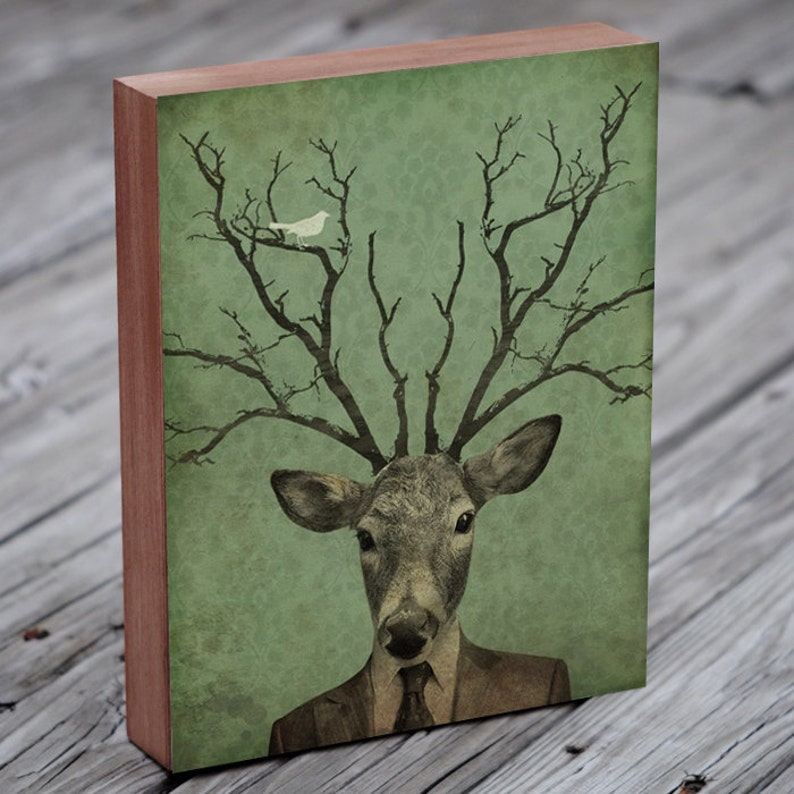 Deer Head  Deer Antler  Leroy's Antlers  Wood Block Art image 0