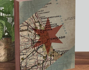 Chicago Art Print - Chicago Flag Art - Chicago Flag Wood Sign - Chicago Flag Wall Art
